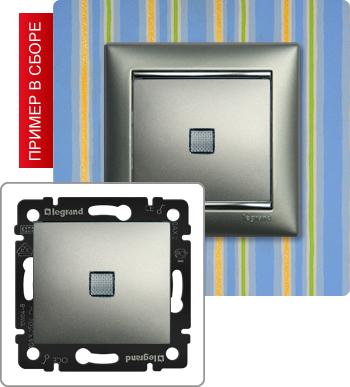 770110 Выключатель одноклавишный с подсветкой 10А
