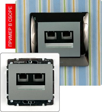 7. Схема подключения.  Розетка двойная с телефонным разъемом RJ-11 и компьютерным RJ45.  Подключение двух линий.