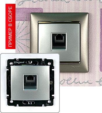 Механизм телефонной розетки RJ-11 4 контакта, 1 ввод линии.  Устанавливается в стандартный подрозетник.