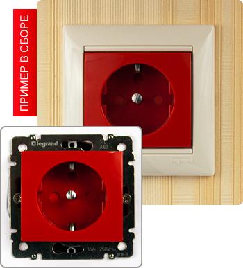 774327 Розетка с заземлением, красная, с защитой доступа, 16А