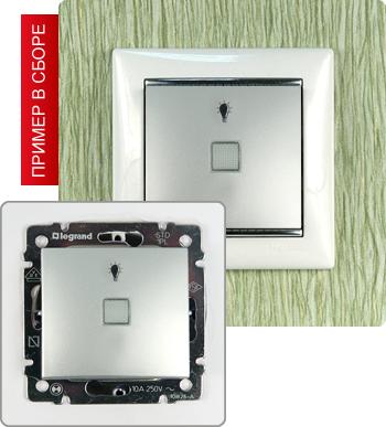770113 Кнопка с подсветкой и пиктограммой лампы 10А