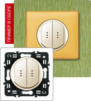 Выключатель двухклавишный с подсветкой 10А.