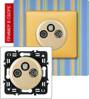 Розетка TV-RD-SAT с возможностью подключения 2-х кабелей