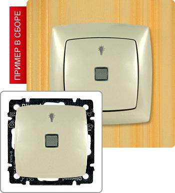 Звонковая кнопка с подсветкой для нагрузки до 10А 250В (2500 Вт).  Для использования в схемах управления освещением.